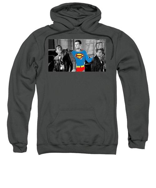 George Reeves As Superman In His 1950's Tv Show Apprehending Two Bad Guys 1953-2010 Sweatshirt
