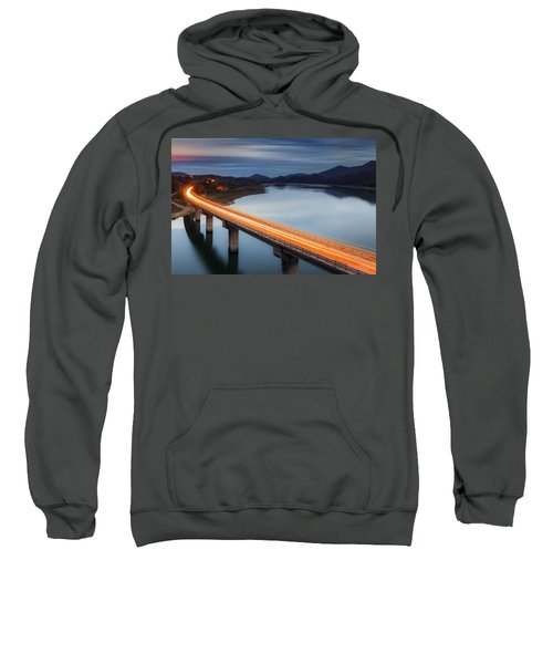 Sweatshirt featuring the photograph Glowing Bridge by Evgeni Dinev