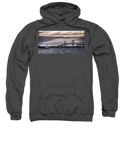Goat Island Lighthouse And Newport Bridge Sweatshirt
