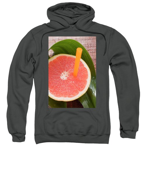 Half A Pink Grapefruit With A Straw Sweatshirt
