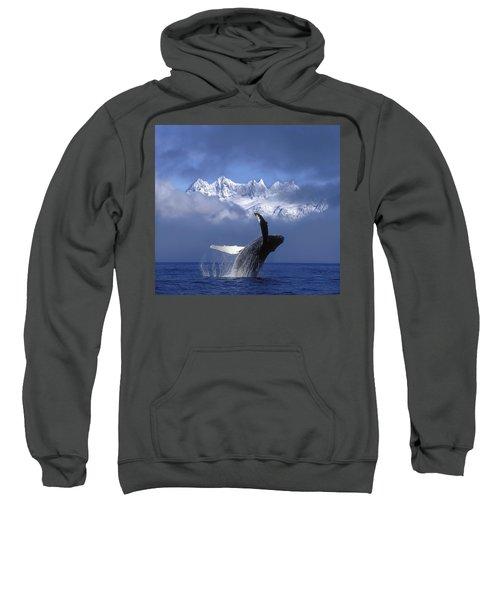 Humpback Whale Breaches In Clearing Fog Sweatshirt