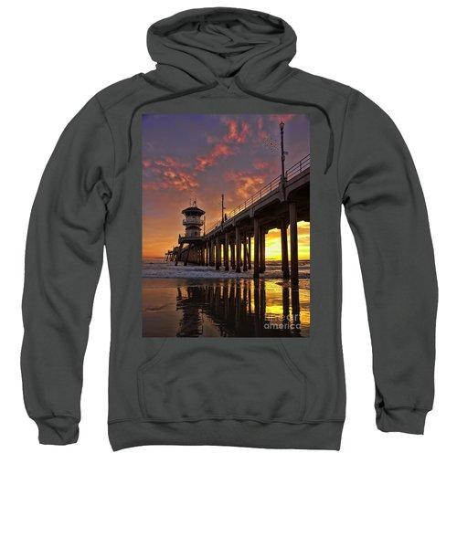 Huntington Beach Pier Sweatshirt by Peggy Hughes