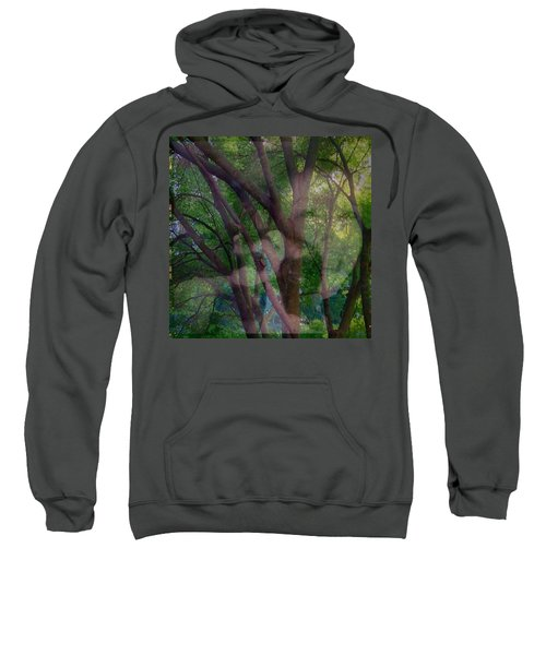 In The Forest Self-portrait With Ferret Sweatshirt by Anna Porter