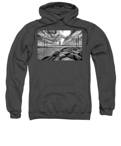 Indian River Bridge Clouds Black And White Sweatshirt