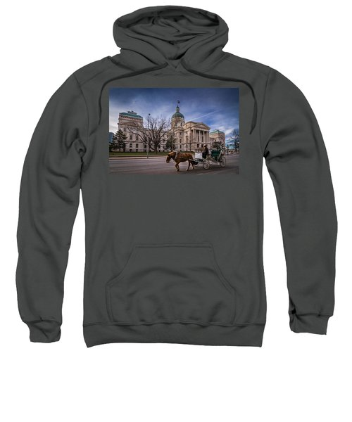 Indiana Capital Building - Front With Horse Passing Sweatshirt