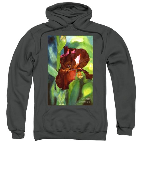 Watercolor Of A Tall Bearded Iris In Sienna Red Sweatshirt
