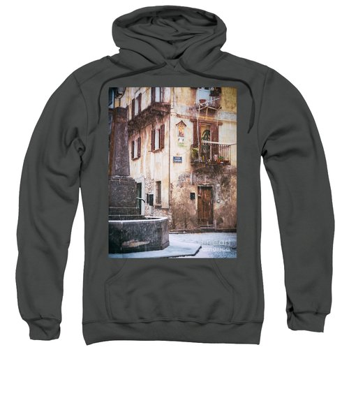 Sweatshirt featuring the photograph Italian Square In  Snow by Silvia Ganora
