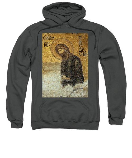 John The Baptist-detail Of Deesis Mosaic  Hagia Sophia-judgement Day Sweatshirt