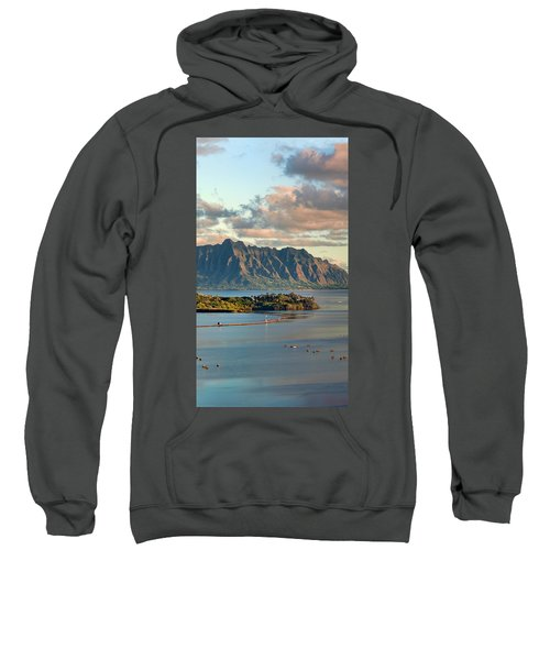 Kaneohe Bay Panorama Mural 2 Of 5 Sweatshirt