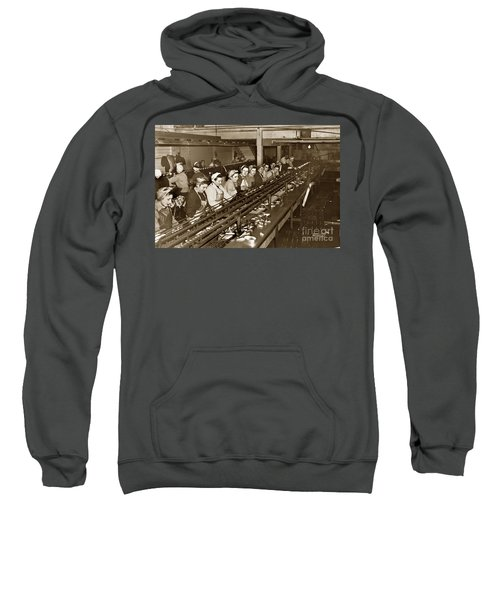 Ladies Packing Sardines In One Pound Oval Cans In One Of The Over 20 Cannery's Circa 1948 Sweatshirt
