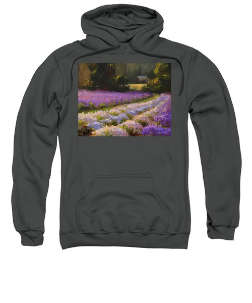 Lavender Farm Landscape Painting - Barn And Field At Sunset Impressionism  Sweatshirt