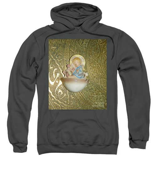 Newborn Boy In The Baptismal Font Sculpture Sweatshirt