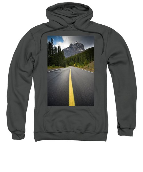 Low Angle Wet Road With Mountains Sweatshirt