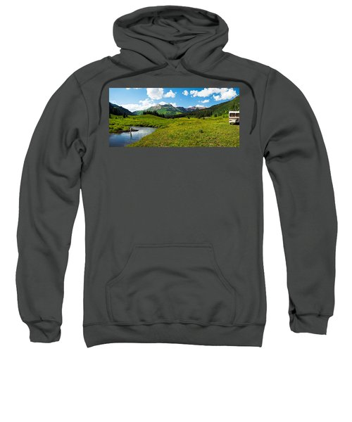 Man Camping Along Slate River, Crested Sweatshirt
