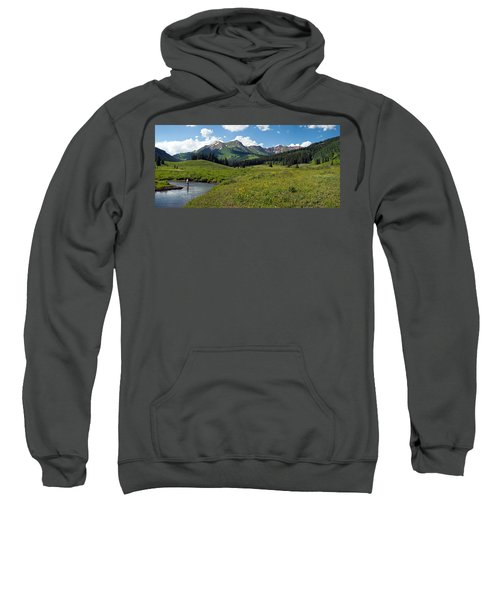 Man Fly-fishing In Slate River, Crested Sweatshirt