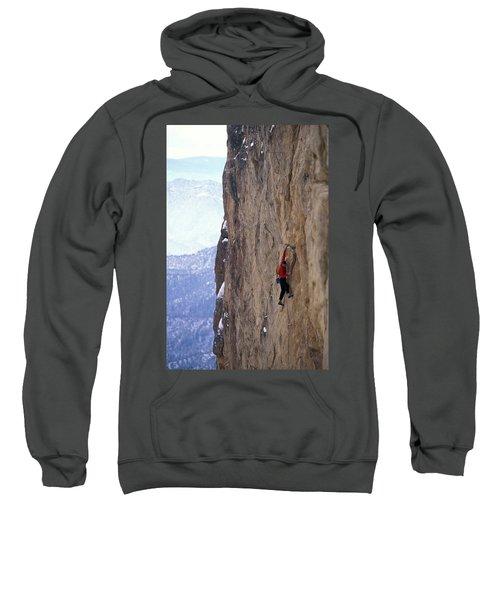 Man In A Red Shirt Lead Climbing Sweatshirt