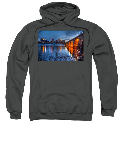 Minneapolis Skyline Images Stone Arch Bridge Spring Evening Sweatshirt