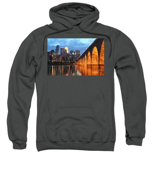 Minneapolis Skyline Photography Stone Arch Bridge Sweatshirt