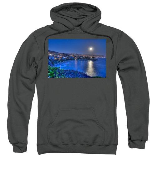 Moon Over Crescent Bay Beach Sweatshirt