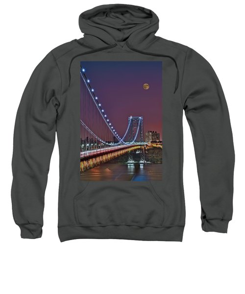Moon Rise Over The George Washington Bridge Sweatshirt