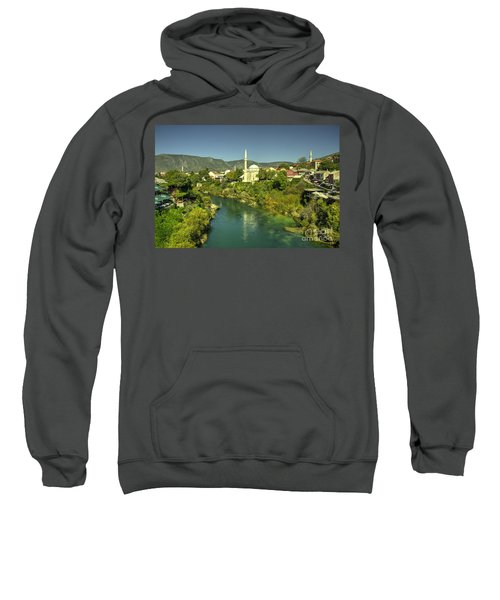 Mostar River And Mosque  Sweatshirt