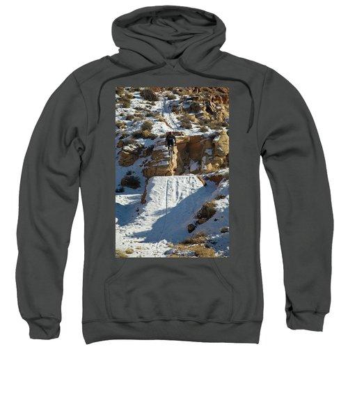 Mountain Biker Jumping With Snowy Sweatshirt