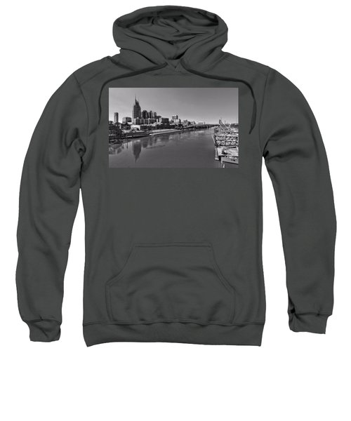 Nashville Skyline In Black And White At Day Sweatshirt by Dan Sproul