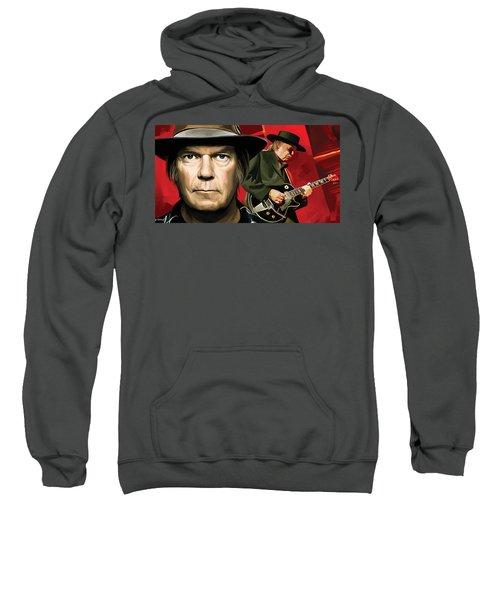 Neil Young Artwork Sweatshirt by Sheraz A