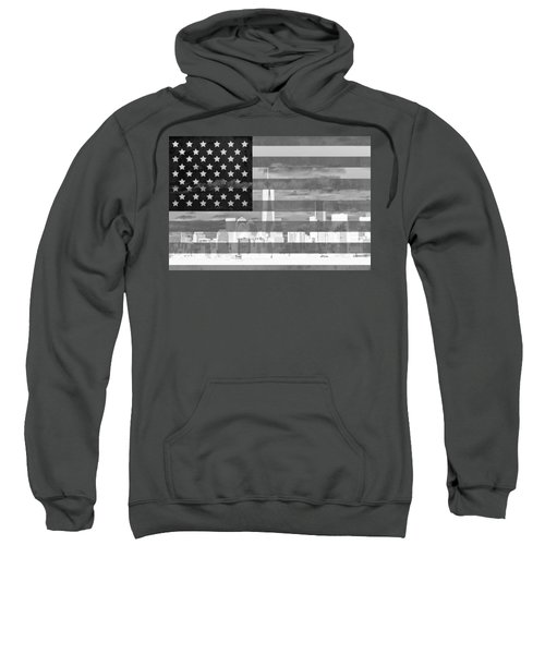 New York City On American Flag Black And White Sweatshirt