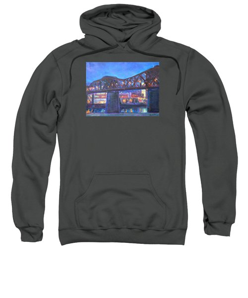 City At Night Downtown Evening Scene Original Contemporary Painting For Sale Sweatshirt