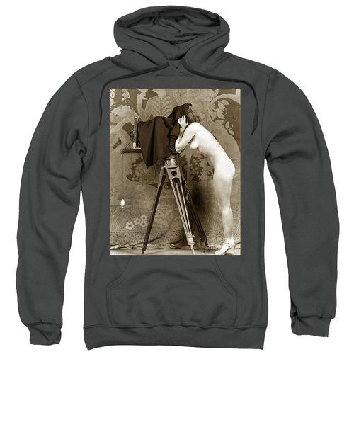 Nude In High Heel Shoes With Studio Camera Circa 1920 Sweatshirt