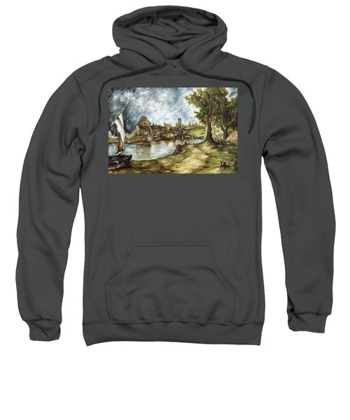 Old Mill By The Water - Impressionistic Landscape Sweatshirt