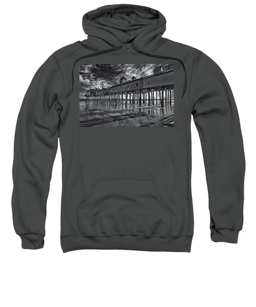 Old Orchard Beach Pier Bw Sweatshirt