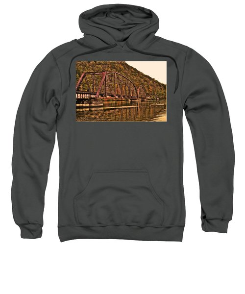 Sweatshirt featuring the photograph Old Railroad Bridge With Sepia Tones by Jonny D