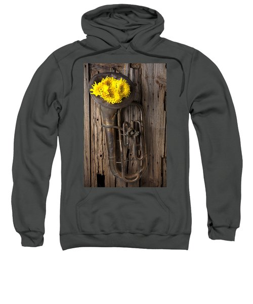 Old Tuba And Yellow Mums Sweatshirt