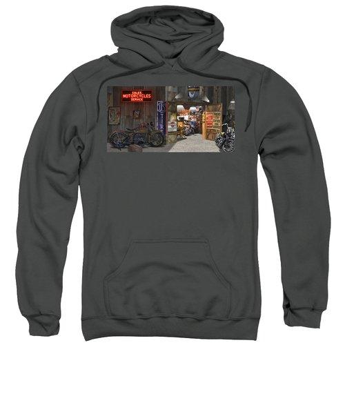 Outside The Motorcycle Shop Sweatshirt