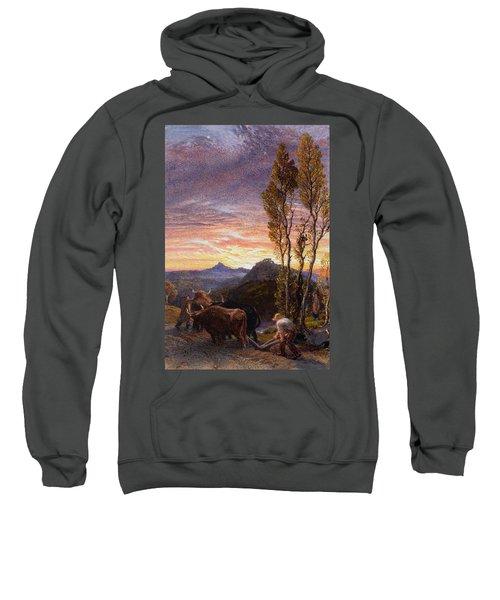 Oxen Ploughing At Sunset Sweatshirt
