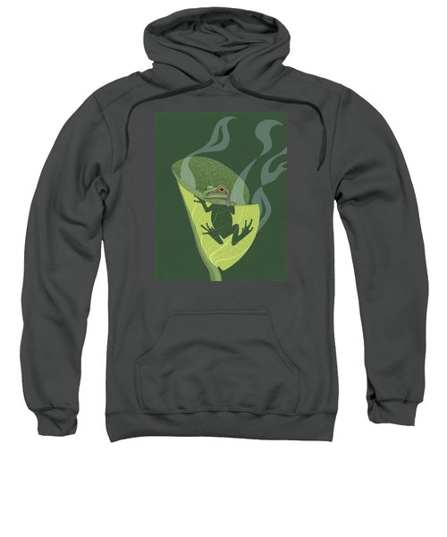 Pacific Tree Frog In Skunk Cabbage Sweatshirt by Nathan Marcy