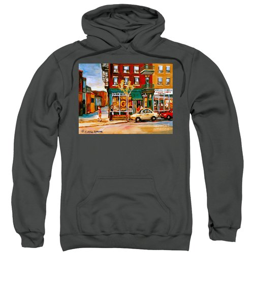 Paintings Of  Famous Montreal Places St. Viateur Bagel City Scene Sweatshirt