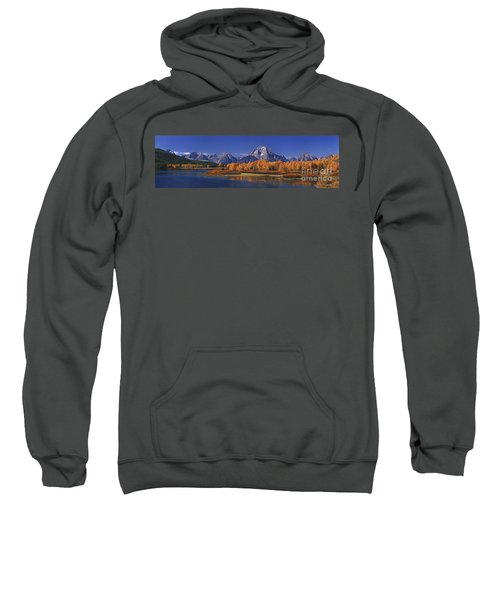 Panorama Fall Morning Oxbow Bend Grand Tetons National Park Wyoming Sweatshirt