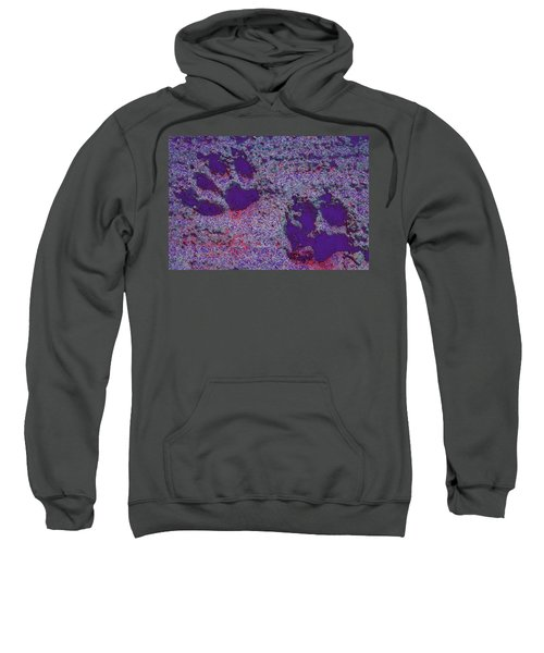 Paw Prints In Purple With Red Glow Sweatshirt