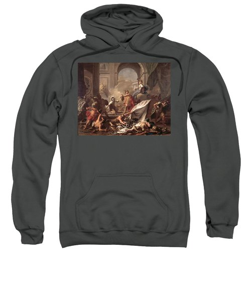 Perseus, Under The Protection Of Minerva, Turns Phineus To Stone By Brandishing The Head Of Medusa Sweatshirt