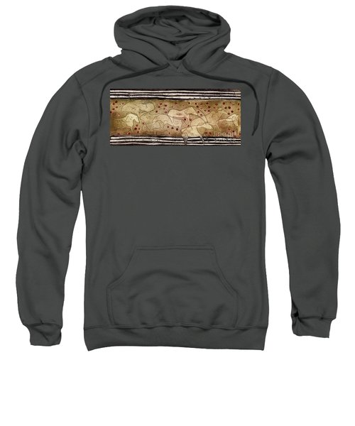 Petroglyph - Ensemble Of Red Dots And Short Strokes - Prehistoric Art - The Plains - Prarie Country Sweatshirt