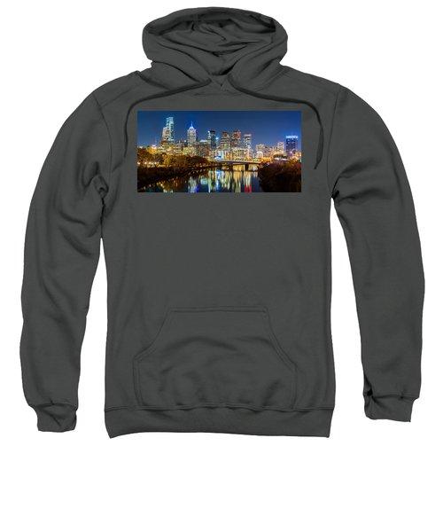 Philadelphia Cityscape Panorama By Night Sweatshirt