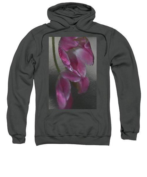 Pink Tulip Reflection In Silver Water Sweatshirt
