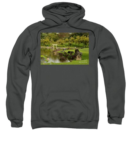Pond Rocks Grass And Japanese Arch Singapore Sweatshirt