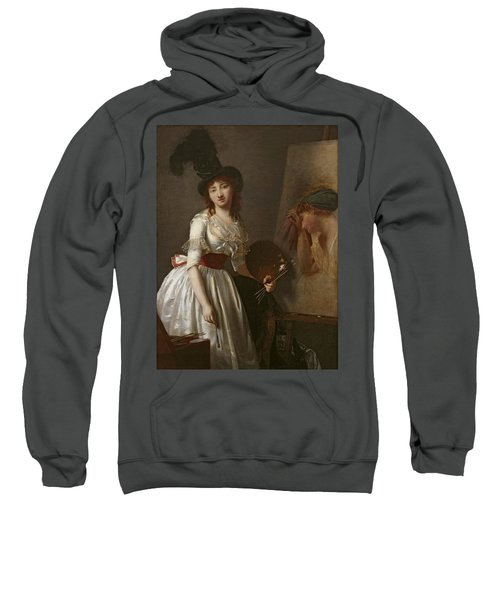 Portrait Of A Female Painter, Pupil Of David Oil On Canvas Sweatshirt
