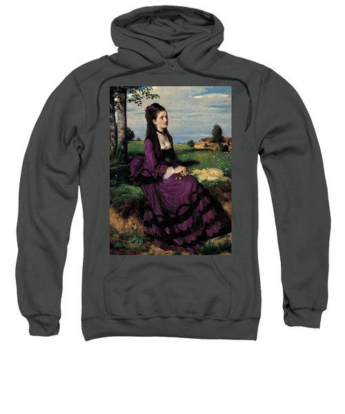 Portrait Of A Woman In Lilac Sweatshirt