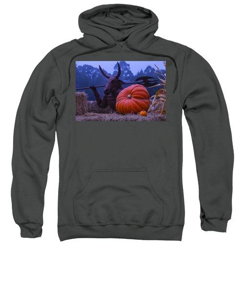 Pumpkin And Minotaur Sweatshirt by Garry Gay