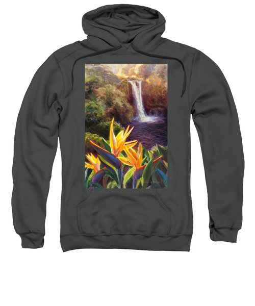 Rainbow Falls Big Island Hawaii Waterfall  Sweatshirt
